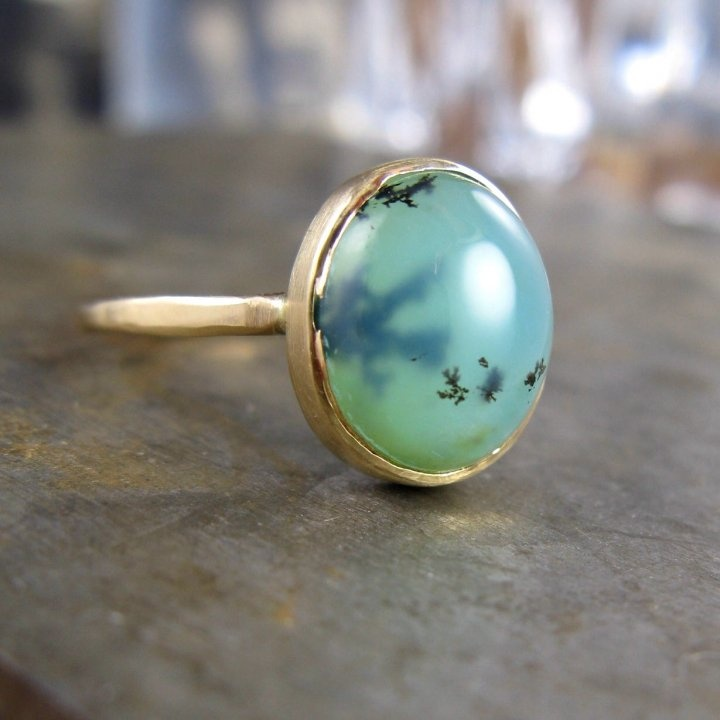 Peruvian Opal Ring with Dendrites by Christine Mighion: Opal Rings, Gold Rings, Peruvian Opals