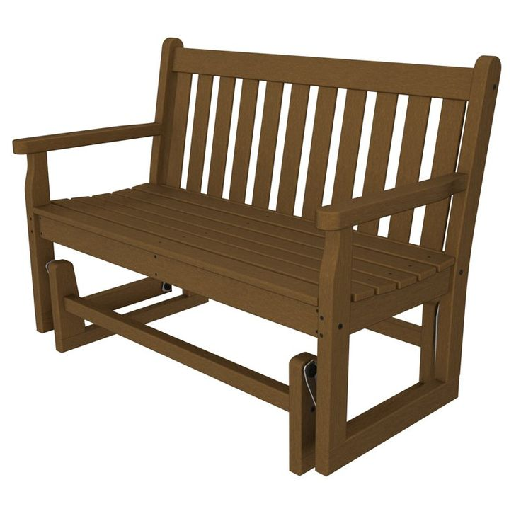 POLYWOOD® Traditional Recycled Plastic 48 in. Outdoor Glider Loveseat Teak - TGG48TE
