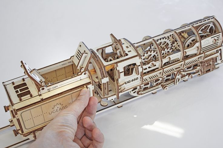 Ugears Steam Locomotive with Tender: self-propelled wooden mechanical model kit
