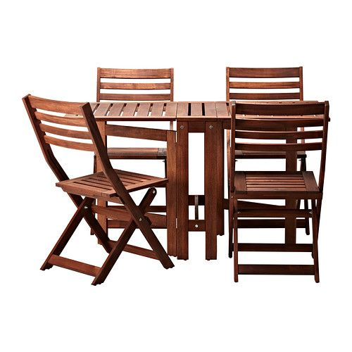 Patio: ÄPPLARÖ Table and 4 chairs IKEA You can easily protect your furniture against wear and tear by re-glazing it on a regular basis, about once a year.