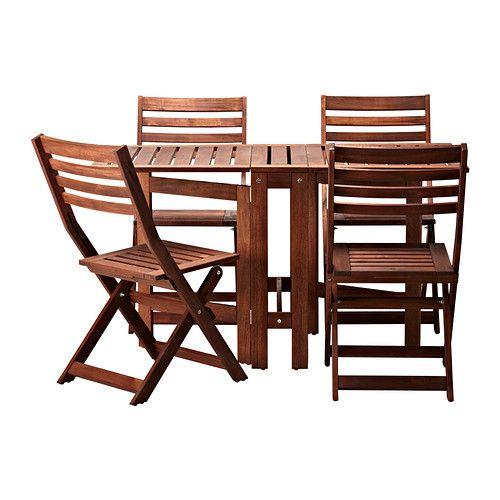 ÄPPLARÖ Tafel+4 klapstoelen, buiten IKEA Met de 2 klapdelen kan je de grootte van de tafel naar behoefte aanpassen.