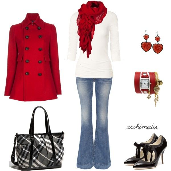 red: Shoes, Red Coats Outfit, Fashion, Dreams Closet, Red Jackets, Fall Outfit, Accessories, White Tops, Red Black