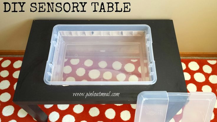 DIY Sensory Table. So Easy and low cost! Ikea Lack table + Bin! Save money and give kiddos opportunity to explore! Sensory play fun!