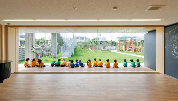 Hanazono Kindergarten designed by HIBINOSEKKEI + youji no shiro in Japan   blackboard walls and large floor space for group activity