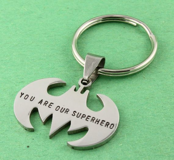 SALE - Father's Day Gift for Dad - You are Our Superhero Bat Keychain - Hand Stamped Personalized Key Chain - Key Ring Gift for Dad