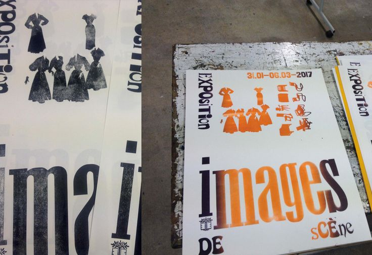 IMAGES DE SCÈNE  Wood and stereotype posters for an exhibition gathering visual production around performing arts. École Estienne, January 31 to March 6, 2017. Setting and printing with Rafael Ribas and Guillaume Letellier.  January 2017  400 × 620 mm
