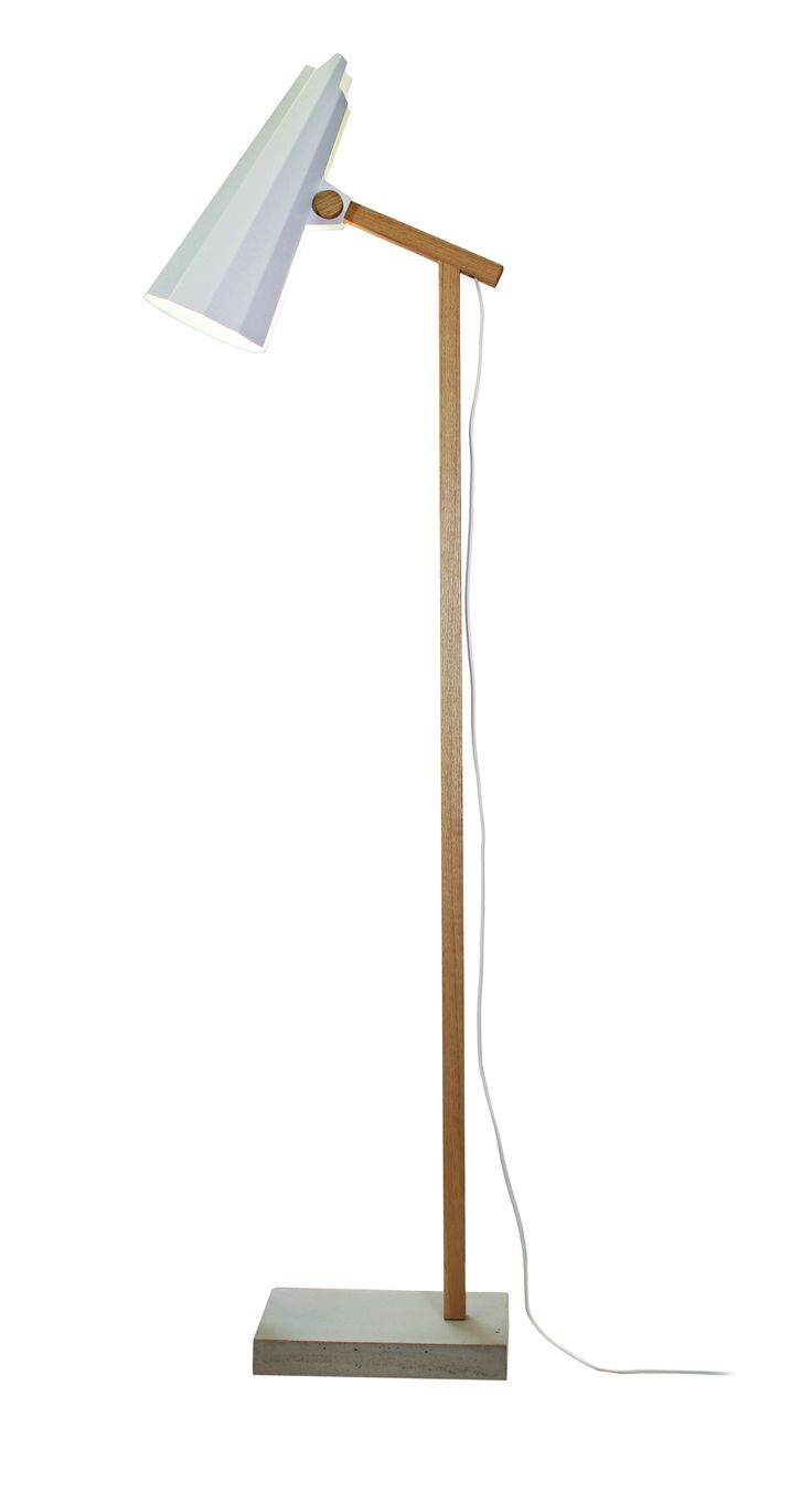 Filly Short Neck Floor Lamp, White. Aluminium shade. Stem made of solid oak and concrete base.