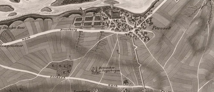 Petronell, the smalltown near Vienna, where ancient Roman city Carnuntum was situated.  the map depicts the remains Roman triumph arch (Römischer Siegesbogen) still exisitng today.