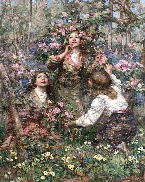 Edward Atkinson Hornel, The Blackbird Song, 1908エドワード・アトキンソン・ホーネル「クロウタドリの歌」