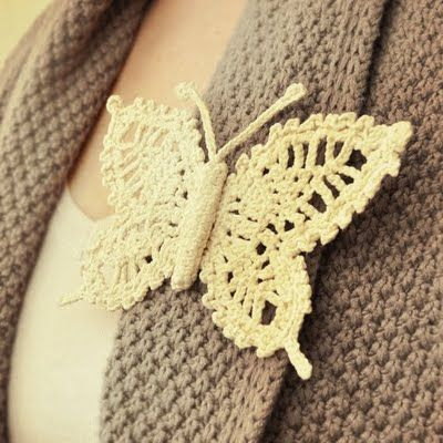 crocheted butterfly pin
