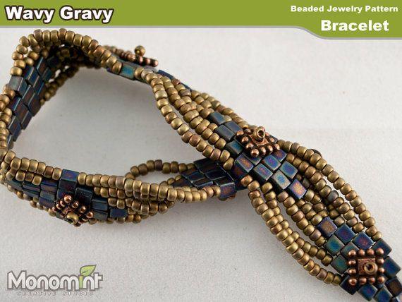 Bracelet Beading Pattern PDF  Wavy Gravy by Monomint on Etsy, $3.99