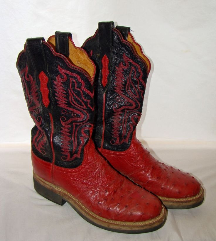 Lucchese 2000 Ostrich Crepe Sole Cowboy Boots RED / BLACK ...