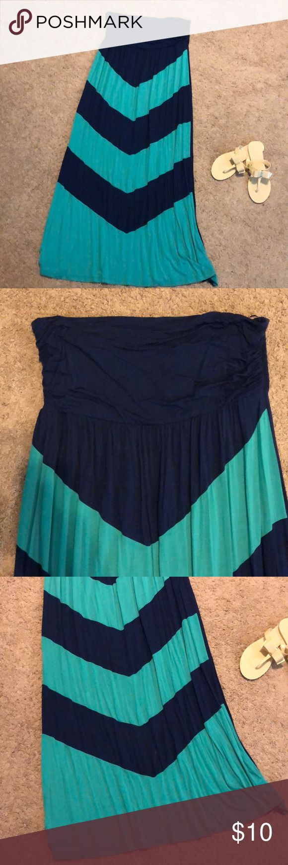 Maxi dress, size XXL Blue & teal maxi dress, perfect for summer! Great condition, only worn a few times. Size XXL  ** sandals not for sale Design History Dresses Maxi