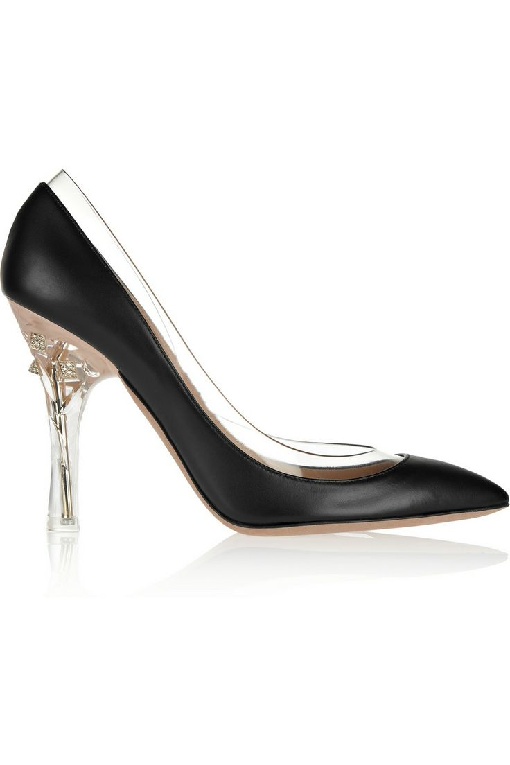 ValentinoEmbellished PVC-trimmed leather pumps