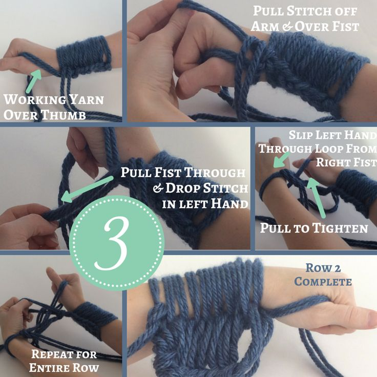 How to Arm Knit a Scarf Instructions Arm Knitting Materials:2 Skeins of Chunky Yarn Lion Brand Wool-Ease Thick & Quick or Lion Brand Hometown USA Scissors 2 Arms (of course!) Step 1: Sli…