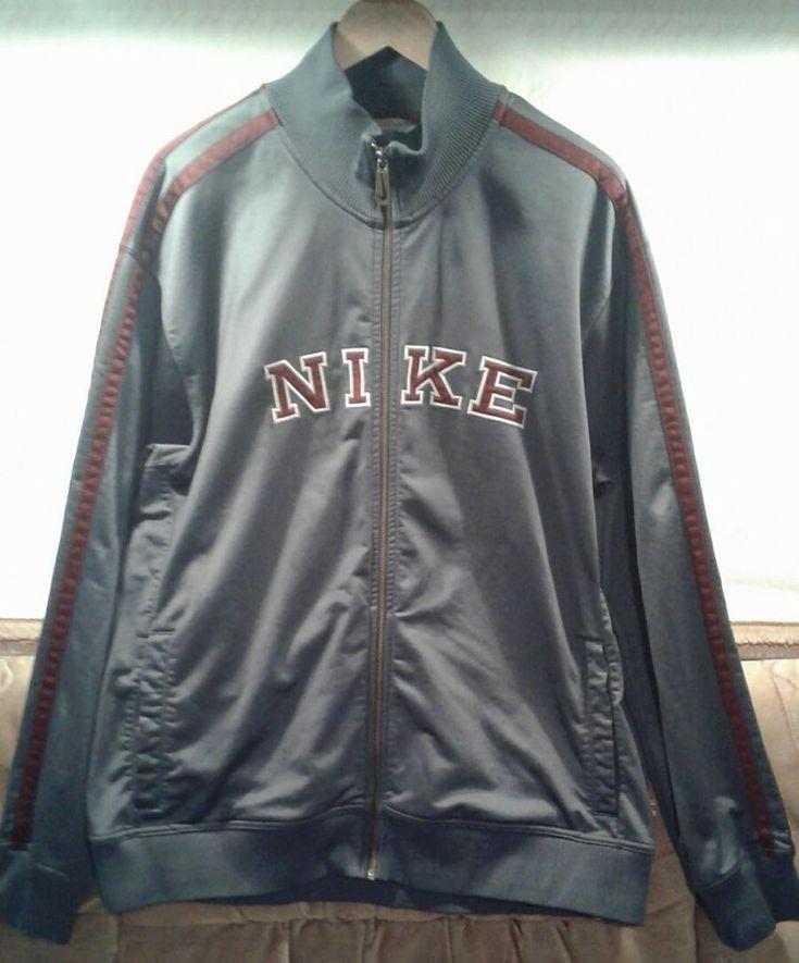 Nike Mens XXL Track Warm Up Jacket NIKE on Front Full Zip Gray Burgundy Stripes  #Nike #CoatsJackets