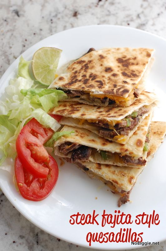 Steak fajita quesadillas (recipe) - NoBiggie.net