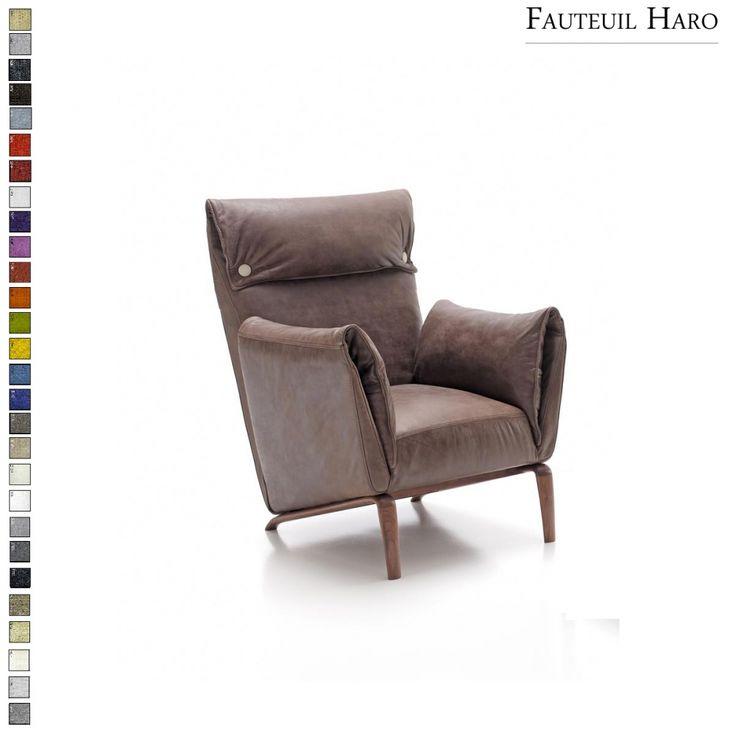 Fauteuil Haro avec coussins pliés et boutons personnalisables par Inspiration Luxe. Livraison en France et en Europe.  #déco #fauteuil #confort #marron
