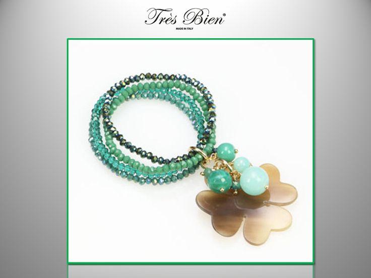 Verde Speranza. #bracciale in #Agata #Avventurina #Corno #Cristalli #fashion #bijoux #bracciale
