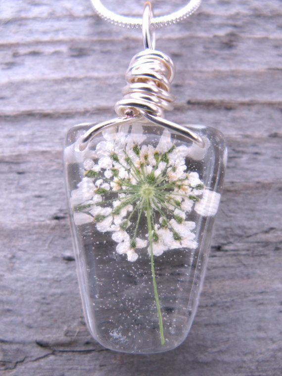 Queen Anne Lace Necklace - Real Flower Encased in Resin