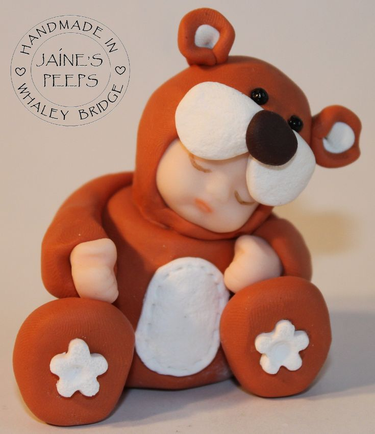 "https://flic.kr/p/brkWGm | Teddy | Handmade in polymer clay and approximately 3"" tall  For more details visit www.jaine.co.uk"