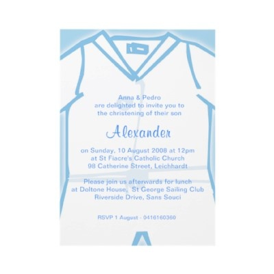 Little Boy Blue Christening Invitations by Inviting Kids