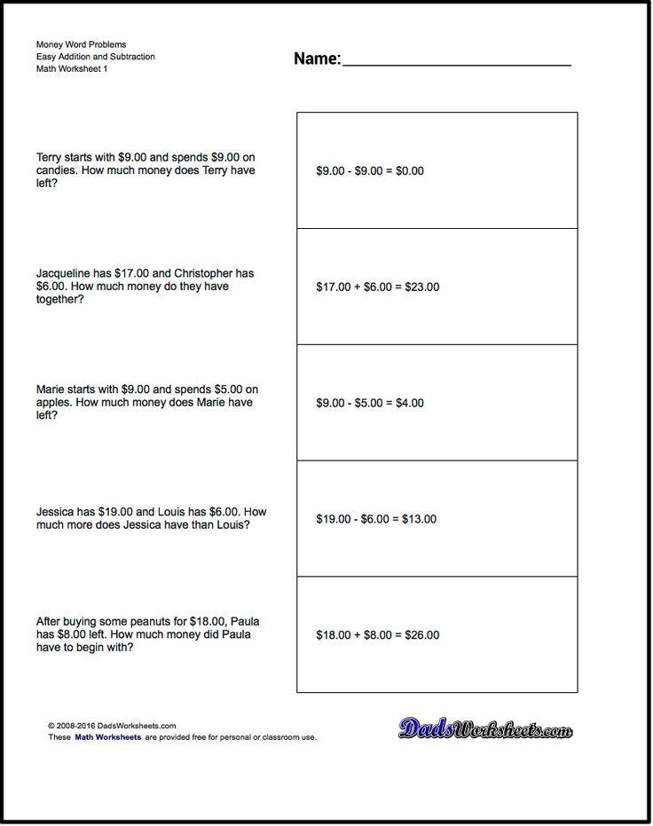Addition Worksheet and Subtraction Worksheet Money Word