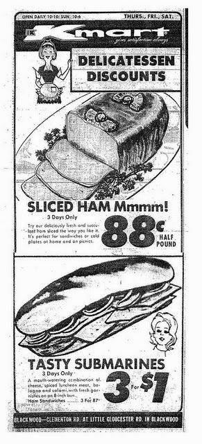 Kmart Memories-I remember my Mom stocking up on the bargain priced sub sandwiches when we'd shop. I thought they tasted alright, but my Dad really seemed to enjoy them after piling on additional condiments from the fridge.