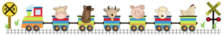 "Barnyard Animals Train Wall Mural or Wall Border for baby nursery or kids room decor - measures 50"" Wide and 8.25"" Tall #decampstudios http://www.decampstudios.com/barnyard2.html"