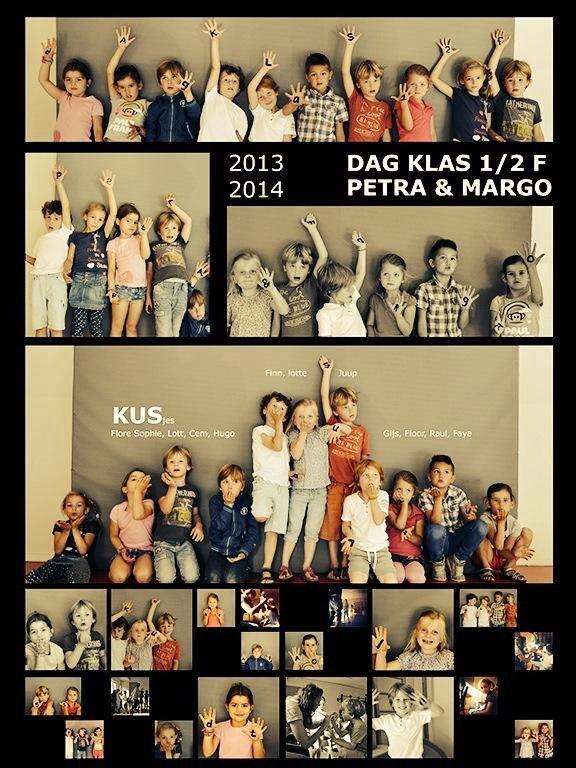 Leuk idee voor afscheid klas of juf. Een fotocollage met leuke tekstjes in een klaskrant.