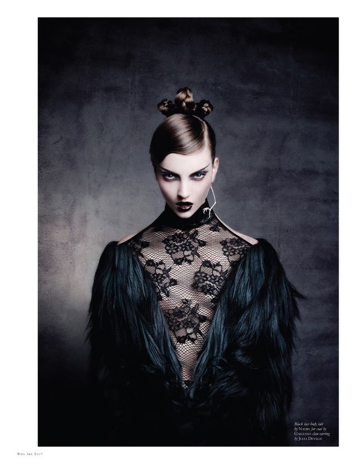 A God in an Alcove – Codie Young delivers the drama in Thom Kerr's latest work featured in New Zealand publication, Black Magazine. Wearing a wardrobe pieced together by Cassandra Scott-Finn, Codie wears voluminous silhouettes from the likes of Gucci, Louis Vuitton, Miu Miu and La Perla in a studio and cemetery setting. / Beauty by Jovita Lee, Hair by Lauren McCowan