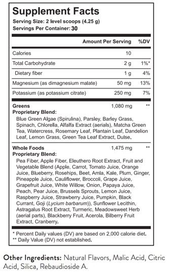 It Works Greens Ingredients Supplement Facts