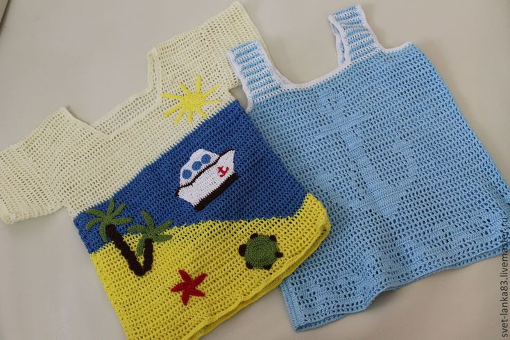 Купить Морская тематика - голубой, майка крючком, футболка крючком, филейное вязание, Аппликация, мальчики