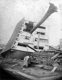 The Johnstown Flood occurred on May 31, 1889. It was the result of the catastrophic failure of the South Fork Dam situated 14 miles upstream of the town of Johnstown, Pennsylvania, made worse by several days of extremely heavy rainfall. The dam's failure unleashed a torrent of 20 million tons of water. The flood killed over 2,200 people and caused 17 million dollars in damage.