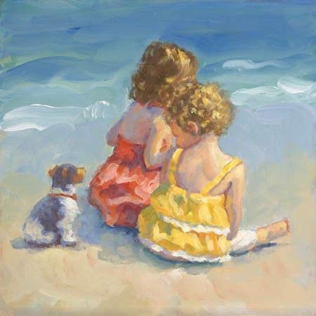 Girls infants children puppy beach canvas giclee Raad Mothers day