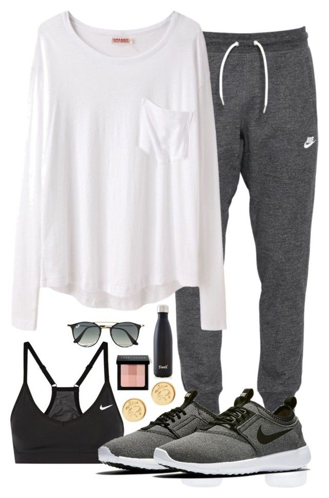 """Typical Weekend Look"" by prep-eq ❤ liked on Polyvore featuring NIKE, Organic by John Patrick, Brooks Brothers, Bobbi Brown Cosmetics, S'well and Ray-Ban"