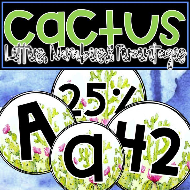 Watercolor Cactus Bulletin Board Letters, Numbers