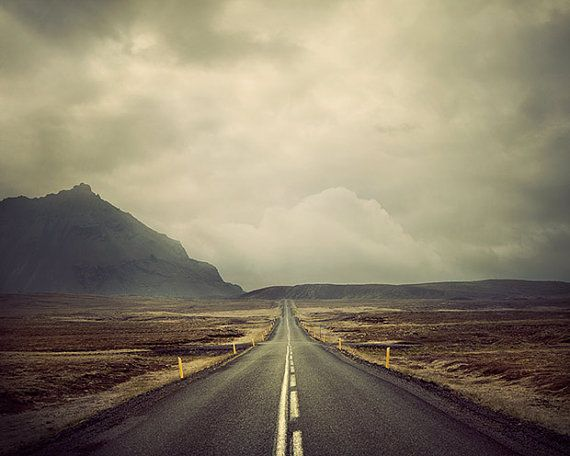 Open Road in Iceland, Landscape Photography, Summer Vacation, Mountain, Nature, Travel, Vintage Colors  - A Beautiful Adventure