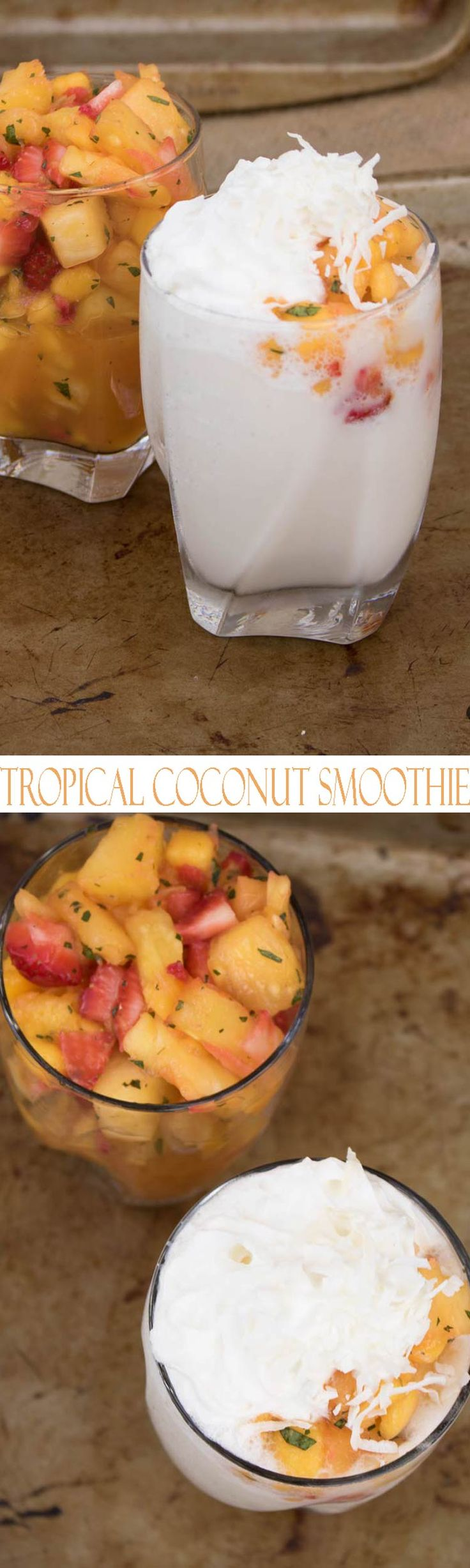 Healthy Mango Smoothie with Coconut and Pineapple. Simple and decadent tropical smoothie recipes with fresh fruit. Pineapple, mango and strawberries blended with coconut make this a refreshing smoothie that is a perfect summer drink. Grab a spoon and a straw and dig in to this delicious smoothie.
