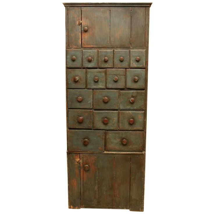 19th c painted two door cupboard with