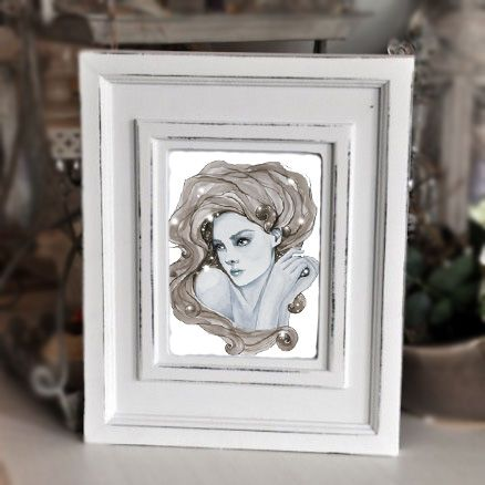 """""""and I wonder..."""" new watercolor in shabby chic frame"""