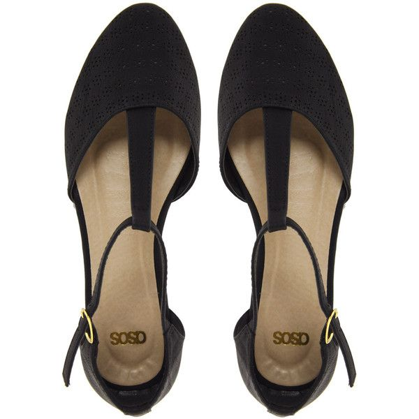 ASOS JEMIMA Flat Shoes With T-bar ($7.90) ❤ liked on Polyvore featuring shoes, flats, black, heels, flat pumps, t strap shoes, black heeled shoes, t bar flats and asos flats