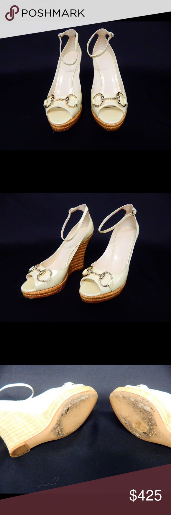 Authentic Gucci Wedges Gucci Vernice Soft Metal, Mystic White Woven Heel Wedge with gold finish trim, size 7+B, in box with individual dust bags, certificate of authenticity, original price $595, they show wear on bottom but otherwise in excellent shape. Perfect for summer! Gucci Shoes Wedges