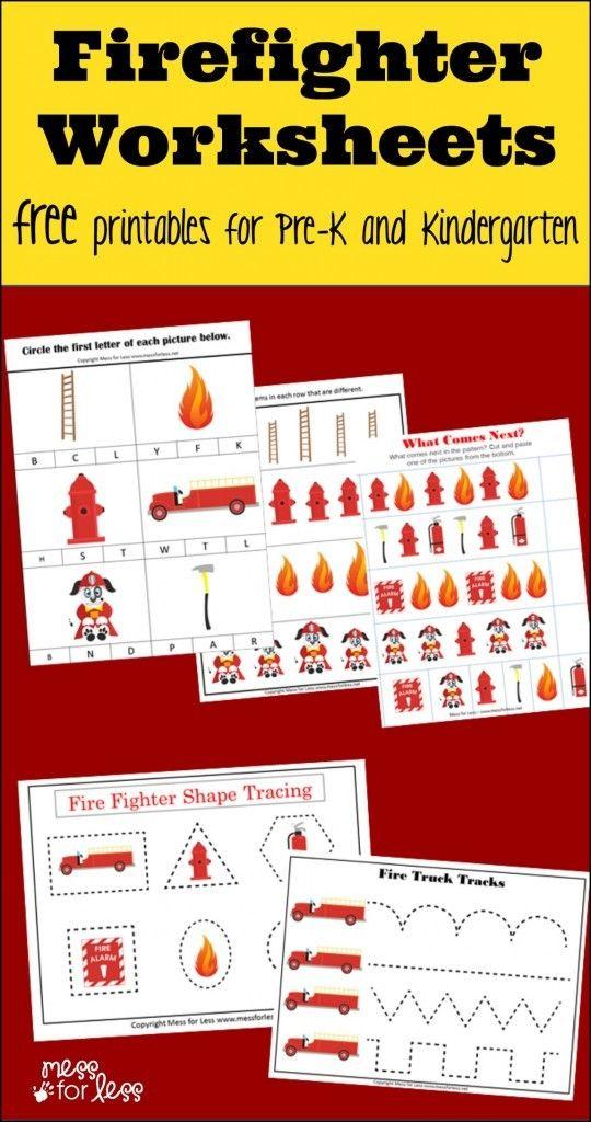 Free Firefighter PreK- Kindergarten Worksheets