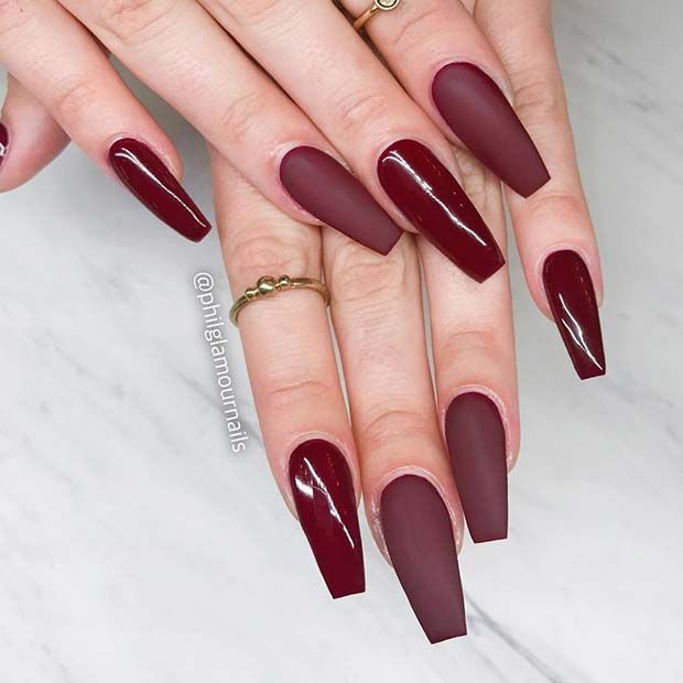43 Chic Burgundy Nails You Ll Fall In Love With Stayglam Burgundy Nails Burgundy Acrylic Nails Coffin Nails Matte