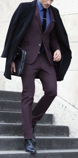 How to wear a burgundy suit!