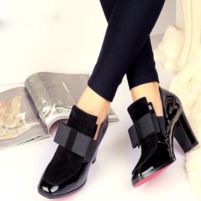 Kickway nuevo 100% REAL foto tacones altos bombas punta cuadrada zapatos de cuero genuino mujeres señoras negro Sexy chaussure mujer 34 -44