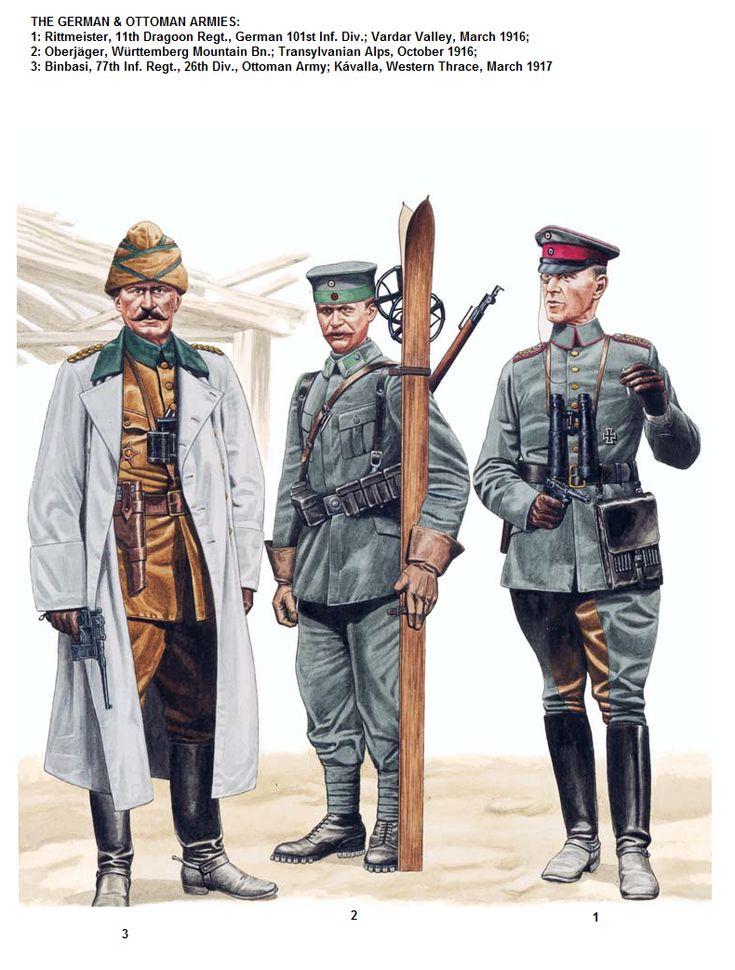 THE GERMAN & OTTOMAN ARMIES:  1: Rittmeister, 11th Dragoon Regt., German 101st Inf. Div.; Vardar Valley, March 1916;  2: Oberjäger, Württemberg Mountain Bn.; Transylvanian Alps, October 1916;  3: Binbasi, 77th Inf. Regt., 26th Div., Ottoman Army; Kávalla, Western Thrace, March 1917