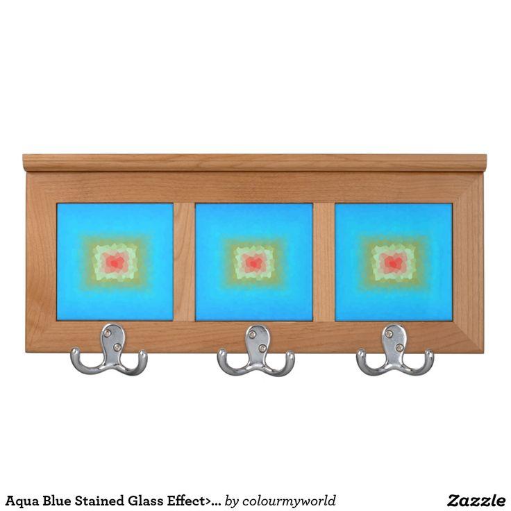 Aqua Blue Stained Glass Effect>Coat Racks Coat Racks