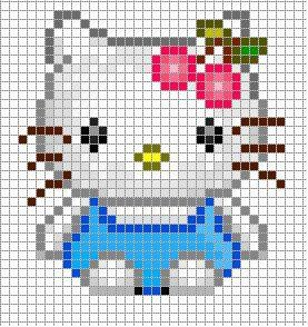 Free Hello Kitty Cherries Hama Perler Bead Pattern or Cross Stitch Chart